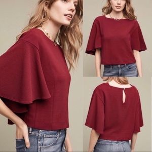 Anthro Eri + Ali Burgandy Batwing Crop Top small
